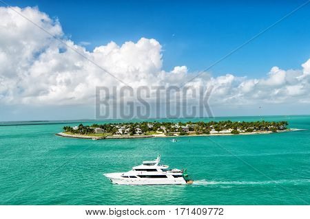 Touristic Boat Floating By Green Island At Key West, Florida