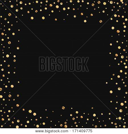Sparse Gold Confetti. Chaotic Border On Black Background. Vector Illustration.