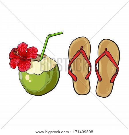 Pair of flip flops and coconut drink, summer time vacation attributes, objects, sketch vector illustration isolated on white background. Hand drawn flip flops and coconut cocktail, summer objects