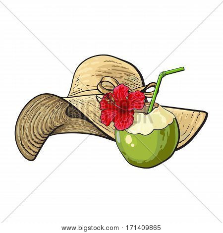 Floppy straw hat and coconut cocktail, drink, summer objects, sketch vector illustration isolated on white background. Hand drawn straw hat and coconut drink, summer, beach vacation