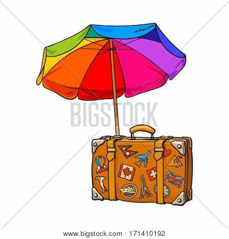 Rainbow colored, open beach umbrella and travel suitcase with luggage stickers, sketch vector illustration isolated on white background. Hand drawn beach umbrella and suitcase with travel stickers