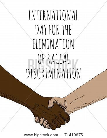 Internationsl Day for the Elimination of Racial Discrimination. Handshake sketch