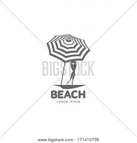 Logo template with beach umbrella and woman standing behind it in bikini, vector illustration isolated on white background. Black and white graphic logo template with beach umbrella and woman figure