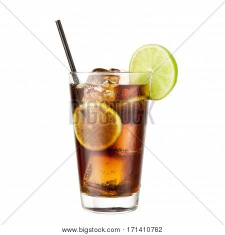Cocktail Cola lime isolated on white background classic alcohol cocktail