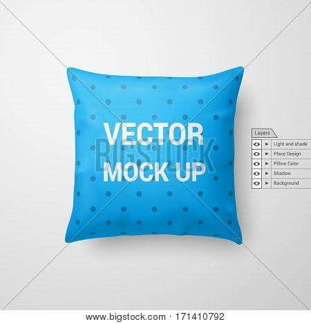 Mock Up of a Cyan Pillow Isolated on White Background
