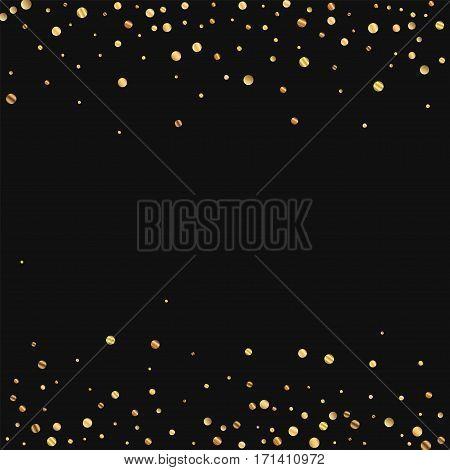 Sparse Gold Confetti. Scattered Border On Black Background. Vector Illustration.