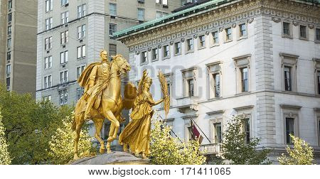 William Sherman memorial in New York City on the corner of Central Park South by Augustus Saint-Gaudens in winter. William Sherman was a United States general who served in the American Civil War.