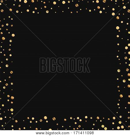 Sparse Gold Confetti. Square Scattered Border On Black Background. Vector Illustration.