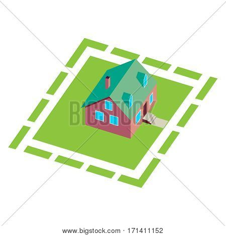 Cottage, small wooden house for real estate brochures or web icon. With yard, green grass. Isometric Vector