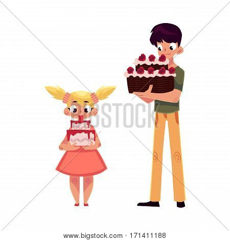 Two kids, boy and girl, holding birthday cakes, getting ready for party, cartoon vector illustration isolated on white background. Little girl and teenage boy, sister and brother with birthday cakes