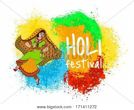 Colorful background with dancing woman for indian holiday - Holi