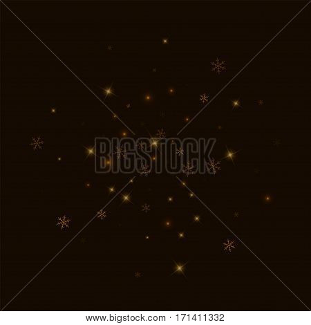 Sparse Starry Snow. Double Circle On Black Background. Vector Illustration.