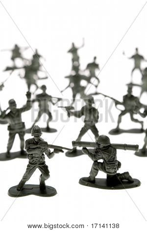 Toy soldiers over white poster