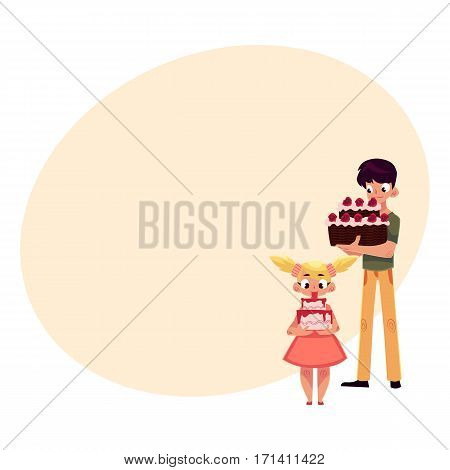 Two kids, boy and girl, holding birthday cakes, getting ready for party, cartoon vector illustration with place for text. Little girl and teenage boy, sister and brother with birthday cakes