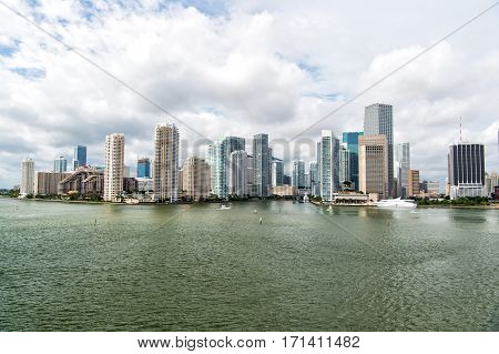 Miami, Seascape With Skyscrapers In Bayside, Downtown