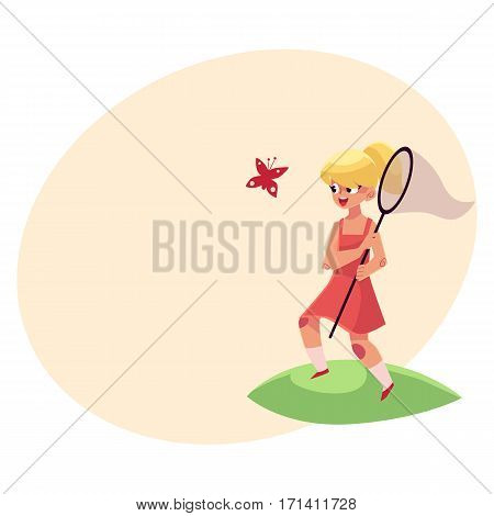 Pretty little girl catching butterfly with a net, summer vacation concept, cartoon vector illustration with place for text. Full length portrait of little girl with a butterfly net