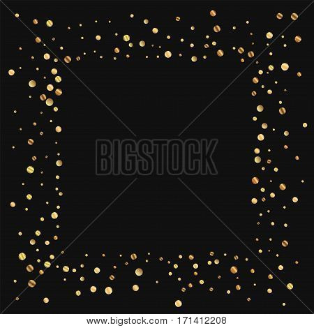 Sparse Gold Confetti. Square Messy Frame On Black Background. Vector Illustration.