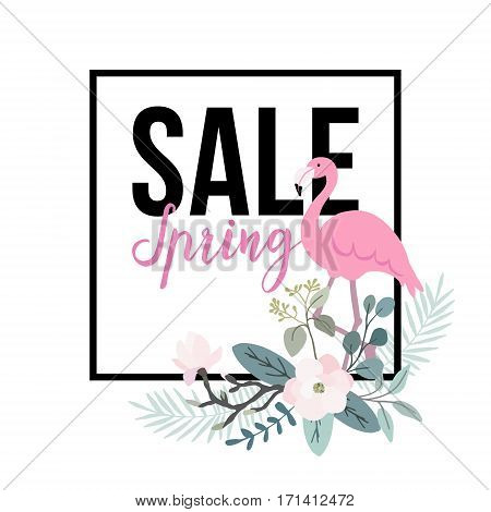 Spring sale poster. Flamingo bird with palm leaves, magnolia flowers and eucalyptus leaves. Web banner, background. Stock vector illustration. Flat jungle design.