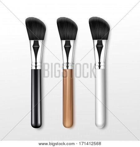 Vector Set of Black Clean Professional Makeup Angle Brush with Black White Wooden Handle Isolated on White Background