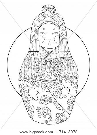 Matryoshka coloring book vector illustration. Black and white lines. Lace pattern