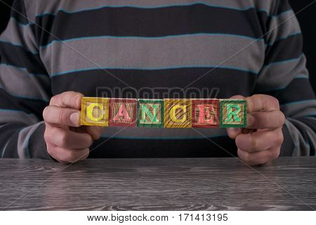 CANCER word from wooden cubes in man hands.helth concept