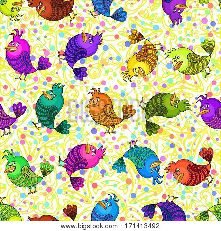 Seamless Background with Funny Colorful Birds, Cute Cartoon Characters of Different Colors and Moods, Sad, Angry, Cheerful and Insidious, Tile Pattern for your Design. Vector