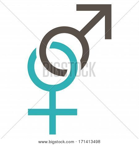 Sex Symbol flat icon. Vector bicolor grey and cyan symbol. Pictogram is isolated on a white background. Trendy flat style illustration for web site design logo ads apps user interface.