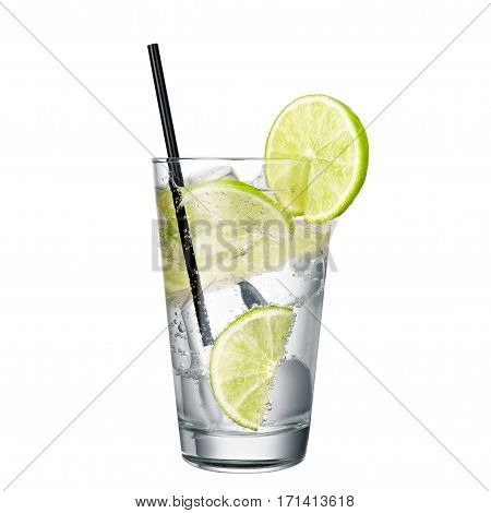 gin and tonic with lime isolated on white background classic alcohol cocktail