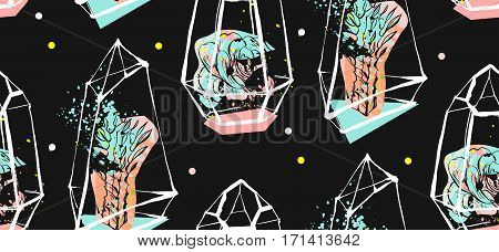 Hand drawn vector abstract seamless pattern with rough terrarium and succulent plants in pastel colors isolated on black bakground.Design for decorationfashionfabricsave the datescandinavian decor