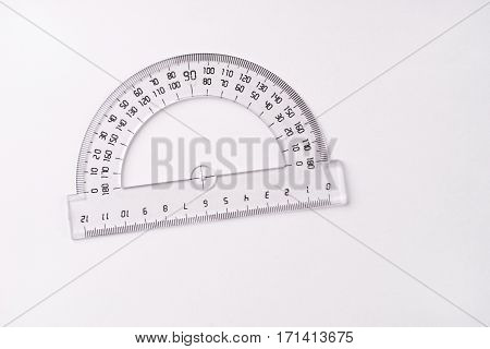 Protractor ruler isolated on white background .