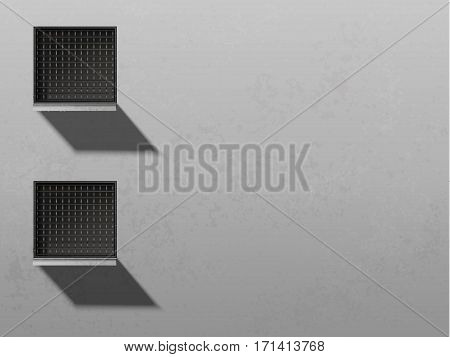 Minimalism style architecture background. Abstract wall with windows. Jail windows illustration. Building wall vector image. Grunge facade. Home guard. House wall front view.