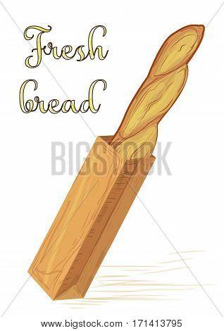 Bread french loaf baguette in paper bag vector illustration