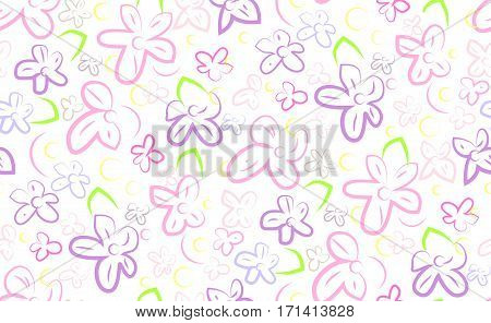 Floral flower lillac elegant vector simple linear colorful bright abstract seamless pattern background texture with blooming cute spring beautiful garden plants. Close-up flora bloom wallpaper design