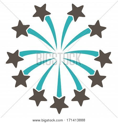 Spherical Fireworks flat icon. Vector bicolor grey and cyan symbol. Pictogram is isolated on a white background. Trendy flat style illustration for web site design logo ads apps user interface.