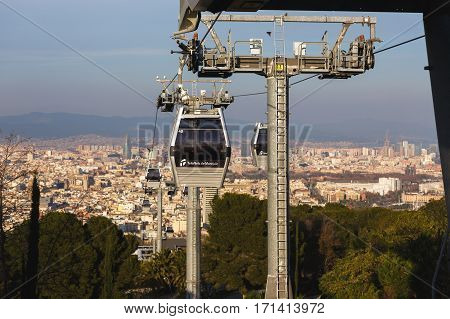 Barcelona Spain - January 07 2017: The Montjuic Cable Car in the background of cityscape of Barcelona