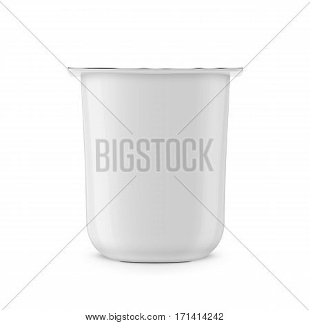 White glossy plastic pot with foil cover for yogurt, cream, dessert or jam. Rounded square form. 115 g. Realistic packaging mockup template. Front view. Vector illustration.