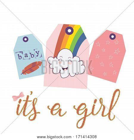 Three tags rainbow cloud. vector illustration. children's theme.