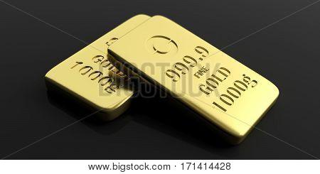 Gold Bullion Bars On Black Background. 3D Illustration