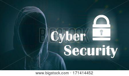 Cyber Security On Black Background. 3D Illustration