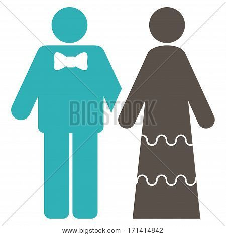 Wedding Persons flat icon. Vector bicolor grey and cyan symbol. Pictograph is isolated on a white background. Trendy flat style illustration for web site design logo ads apps user interface.
