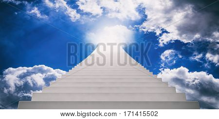 Stairway To Blue Sky. 3D Illustration