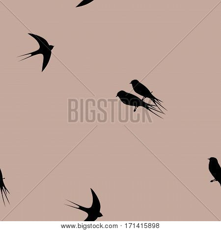 Seamless pattern with swallow birds. The pattern for packing of gifts, tiles fabrics backgrounds. Raster copy.