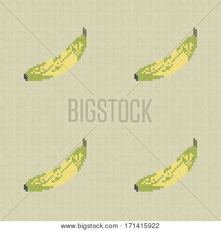 Seamless pattern with embroidery bananas.The pattern can be used for the packing, execution of magazines, tiles fabrics backgrounds. Raster copy.