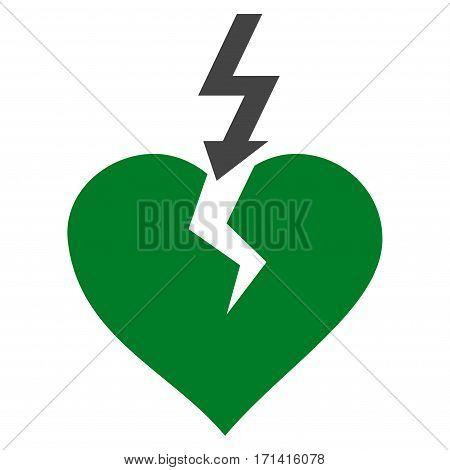Break Heart flat icon. Vector bicolor green and gray symbol. Pictograph is isolated on a white background. Trendy flat style illustration for web site design logo ads apps user interface.