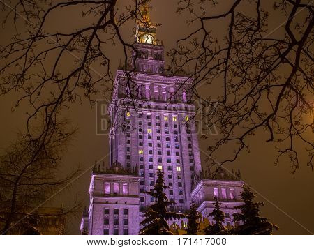 Warsaw Poland - January 20 2016: A view through the twigs over the illuminated in violet Palace of Culture and Science in Warsaw
