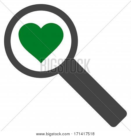 Find Love flat icon. Vector bicolor green and gray symbol. Pictograph is isolated on a white background. Trendy flat style illustration for web site design logo ads apps user interface.