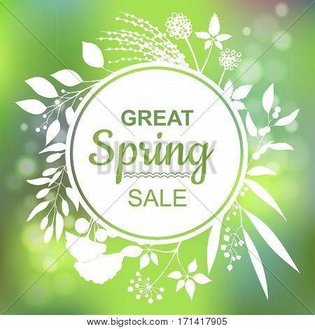 Great spring Sale Banner. Vector Colorful Illustration