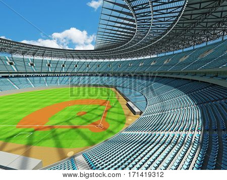 3D render of beautiful modern baseball stadium with sky blue seats for hundred thousand people with VIP boxes