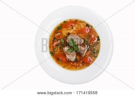 soup kharcho traditional Georgian dish white background top view isolated