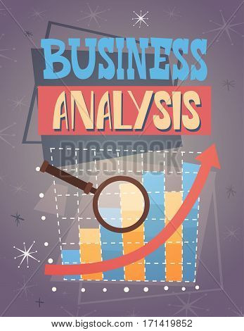 Magnifying Glass Analysis Finance Graph Financial Business Flat Vector Illustration